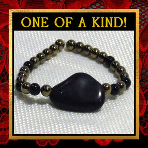 Metallic Pyrite & Black Stone Bracelet #261